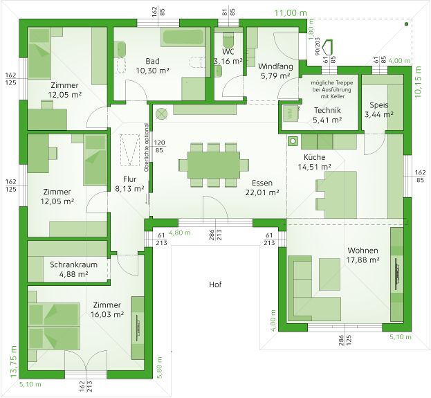 Erdgeschoss Erdgeschoss, Haus bungalow