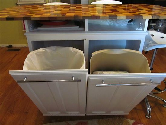 Matchless Kitchen Island With Trash Storage Also Custom Butcher Block  Countertops And European Bar Pulls Cabinet Hardware In Satin Nickel Of  Decoration