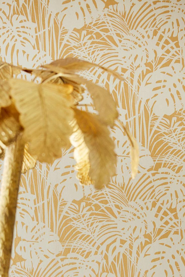 Wandgestaltung Gold Tapete Leaves Gold Tapeten Im Metallic Look Wandgestaltung