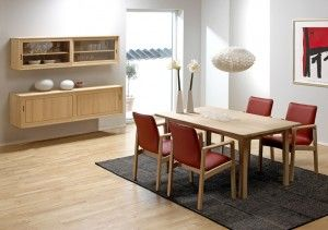 TITLE:Dining Room Furniture | Dining Table Dyrlund has taken over the production rights for some of the best Kurt Østervig designs. The photo shows: •0179-2 Wall hanging sideboard •0178-2 Wall hanging cabinet •8473ALK dining chair w/leather 40502 T-red •1248-160K dining table Avail dining table and dining room furniture. Visit us to find world class furniture.  KEYWORDS: •Dining Room Furniture •Dining Table