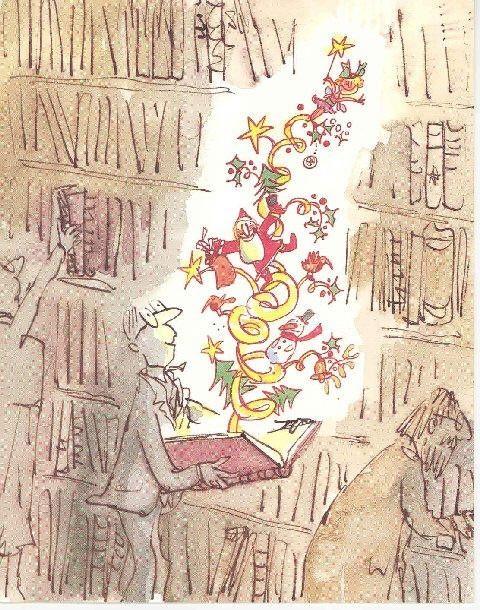 Cada libro abierto es una invitación a la imaginación, también en Navidad (ilustración de Quentin Blake)