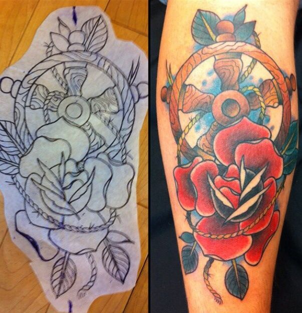 Traditional ship wheel and flower. By Heath smith edm Alberta