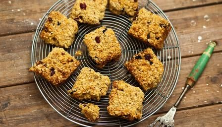BBC - Food - Recipes : Golden flapjacks with mango, sour cherries and coconut