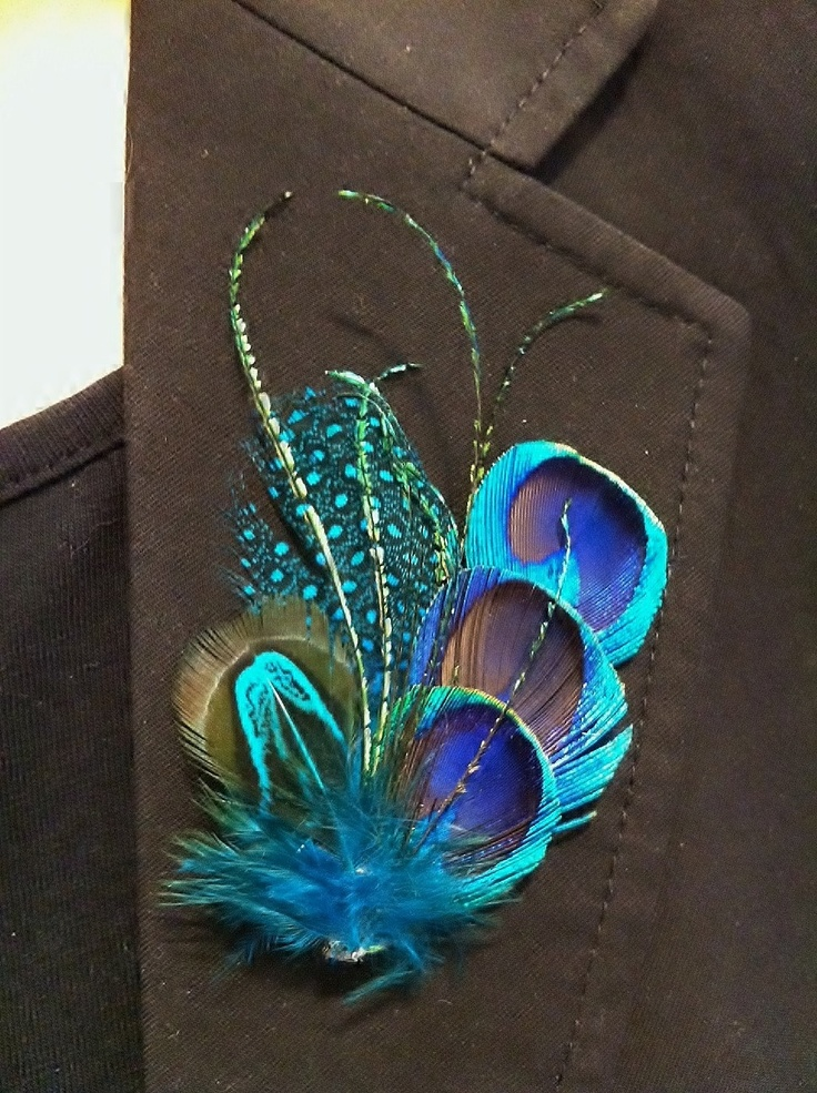 4 Beautiful Peacock feather hair clips. perfect gift for Bridesmaids or use as Boutonniere.. $48.90, via Etsy.