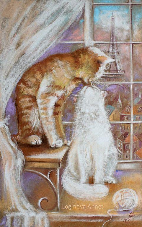 Купить Окно в Париж - кот, картина с котом, коричневый, тепло, любовь, картина пастелью, Париж