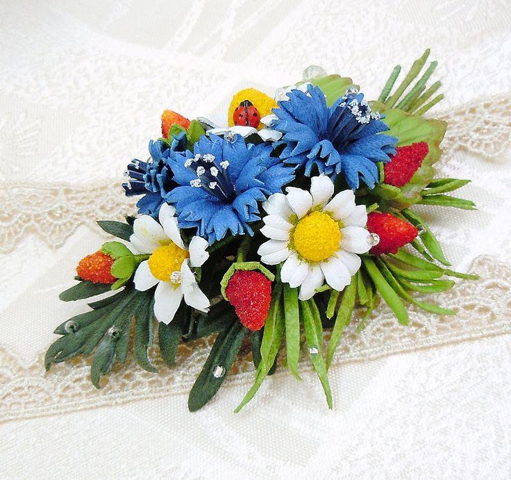 Wildflowers brooch, blue cornflower, leather jewelry, Flower Daisies brooch, Brooch for women, gift for her, leather flower, leather flowers by SummerInYourHome on Etsy