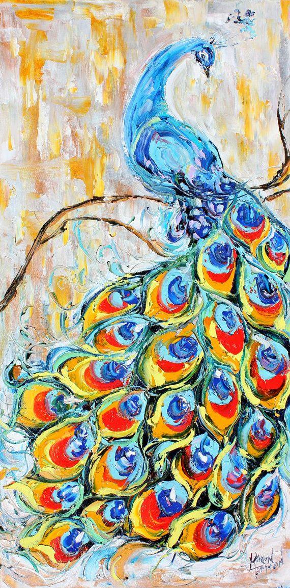Commission Custom Peacock Dance Original Oil by Karensfineart