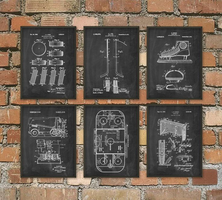 Ice Hockey Patent Print Set Of 6 - NHL Ice Hockey Stick Design - Ice Hockey Rink - Zamboni Ice Rink Resurfacer - Puck - Dorm Room Decor by QuantumPrints on Etsy https://www.etsy.com/listing/247525401/ice-hockey-patent-print-set-of-6-nhl-ice
