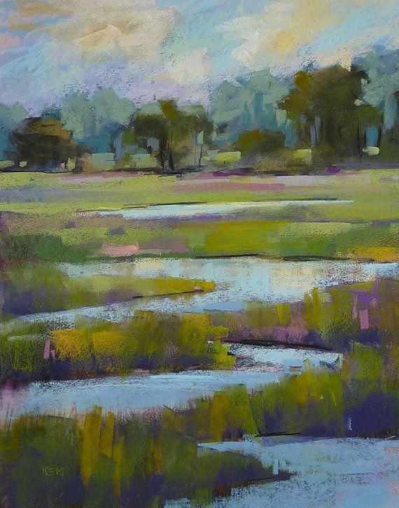 Lavanda de LOWCOUNTRY arte Pastel pintura Original verde grande pintura del paisaje