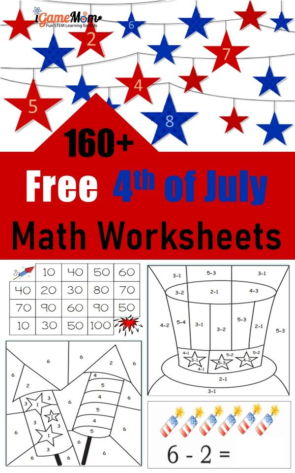 160 Fourth Of July Printable Math Worksheets In 2020 Touch Math Worksheets Printable Math Worksheets Math Worksheets