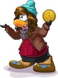 Penguin Holding Coin