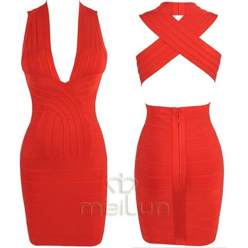 Red Sexy Celeb bandage V-neck bodycon Back Cross cocktail party dress XS S M L