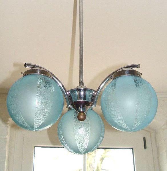 Art Deco antike Decken Hänge Lampe 3arm Chrom orig von artelumine auf DaWanda.com