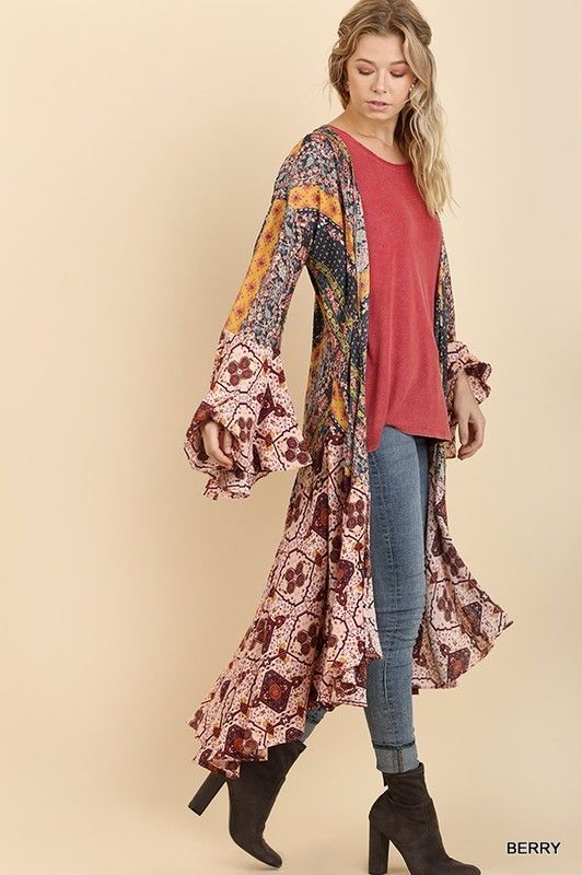 2faa70bc3f6 Gorgeous long kimono bell sleeves. Fabric  60% Cotton 40% Polyester. - Open  front