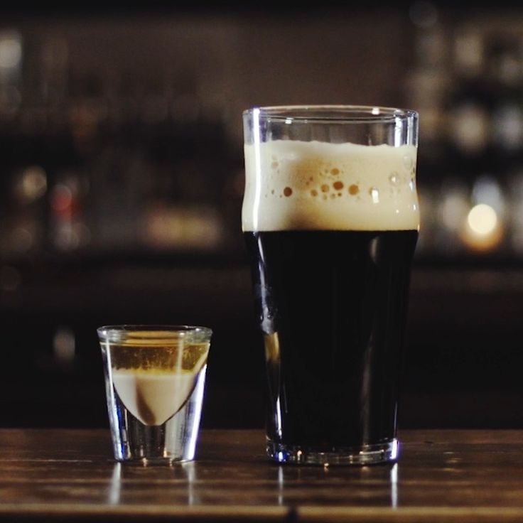 Irish Car Bomb. (Suggestion: Pour the cream in the shot glass first, then float the whiskey.)