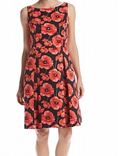 Tommy Hilfiger Red Black Women's Size 12 Floral Fit & Flare Dress