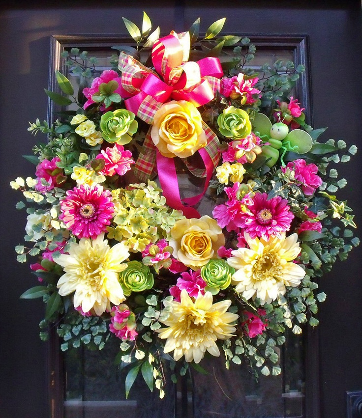 Spring Wreath Bumblebee Floral Door Wreath Hot Pink Lime Yellow Easter Decoration XL