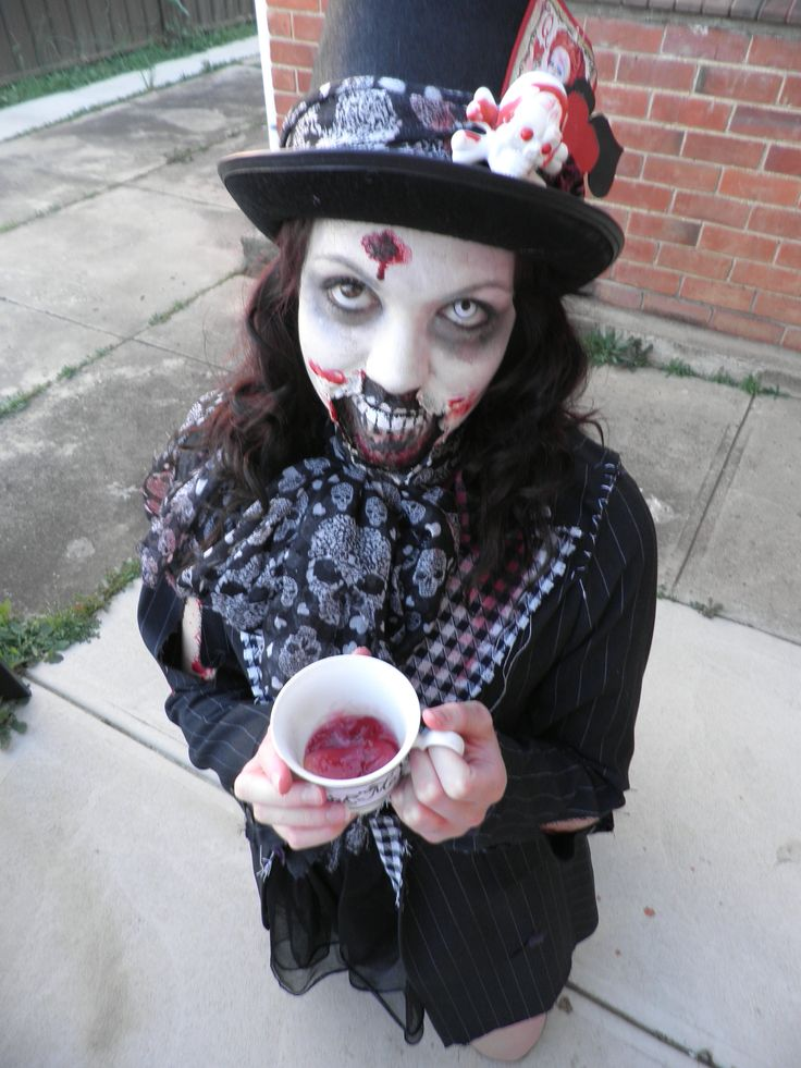 Creepy mad hatter, drinking a cup of bloody parts.