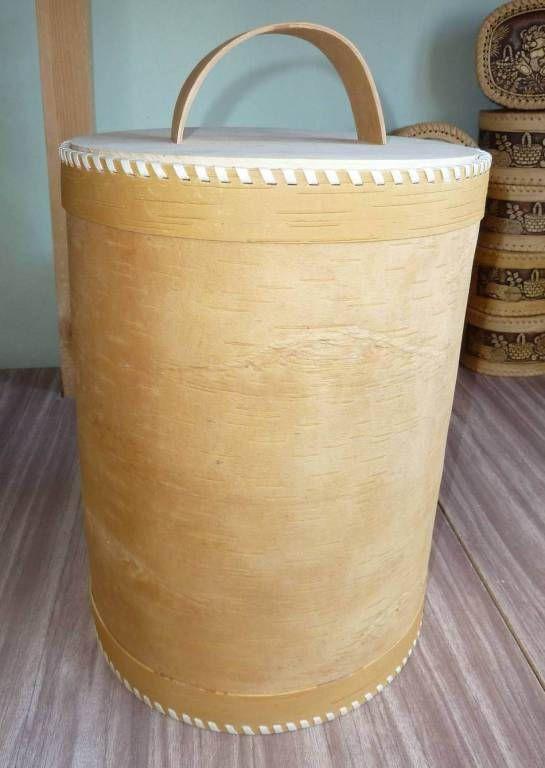Huge jar Beresta container Wooden canister Floor-standing