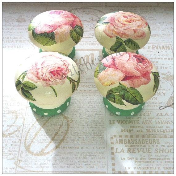 Wooden door knobs made with pink roses paper  set by witchcorner, $30.00