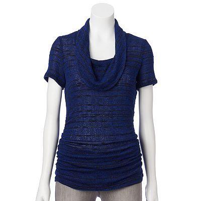 Women's AB Studio Knot-Front Shirt Cobalt Blue