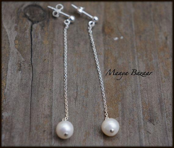 #Long chain #Pearl #Earrings #Bridal #Earrings Sterling by MaayaBazaar, $25.00  #bridal #fashion #etsy #handmade #modern #contemporary #jewellery #jewelry
