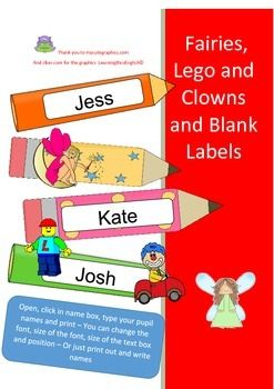 Need some labels?  CUTE FAIRIES, LEGO FIGURES AND CLOWNS. These can be used to label just about anything from personal names of your students or children to boxes in your classroom or at home OR AWESOME FOR LABELLING SCHOOL BOOKSTHIS PACK INCLUDES PDF - for straight printing out of blank labelsAND EDITABLE WORD DOCUMENT - you can move the text box, type in your label name and move the picture yourself.