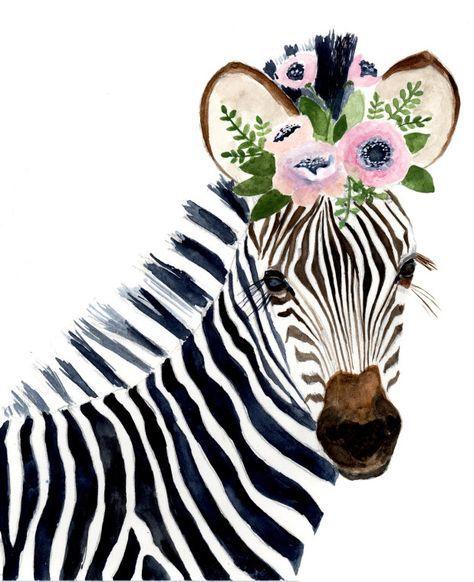 Watercolor Zebra Animal Paintings Giraffe Zebra Nursey