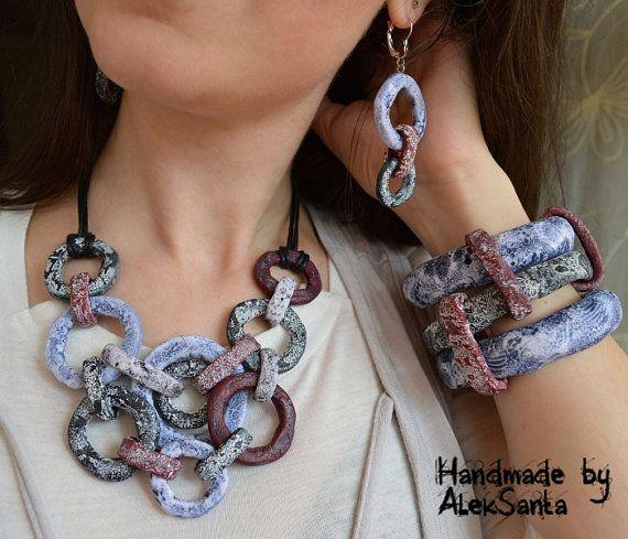 Unusual jewelry set Bib necklace Wide bangle Wide bracelet Dangle earrings Statement jewelry set Statement necklace Statement bracelet