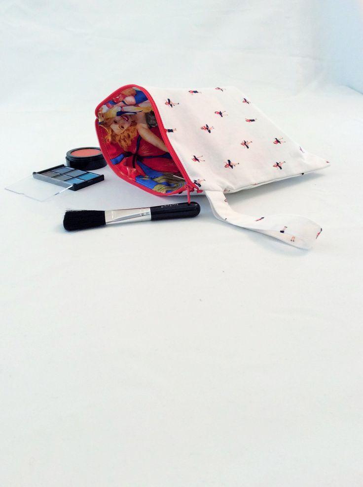 Make up bag, wristlet, pin up girl, lindy hop, swing girl, white bag, cosmetic case, retro 1950s, clutch bag, gadget case, jive girl bag by Kitschosaurus on Etsy
