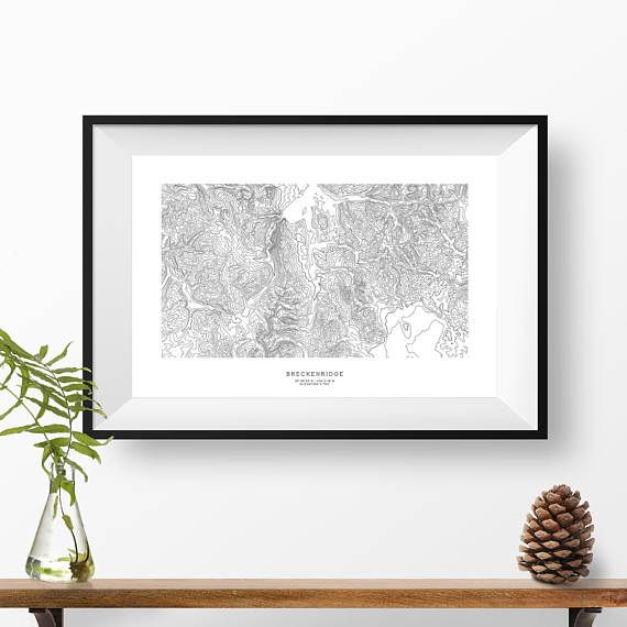 Breckenridge, Colorado | Topographic Print, Contour Map, Map Art | Home or Office Decor, Gift for Mountain Lover or Skiier