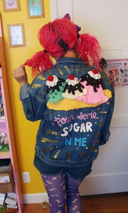 This crazy jean jacket I appliqued a banana split onto!