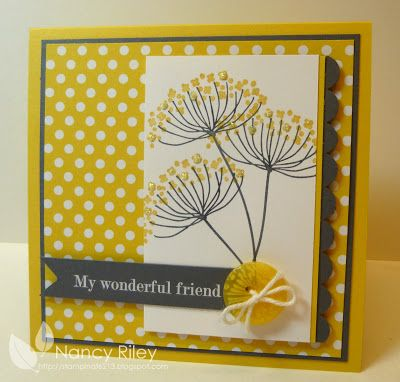 handmade card ... sunny look in yellow, gray and white ... Summer Silhouettes .. like the extra bit of shine on the little flower spots ... Stampin' Up!