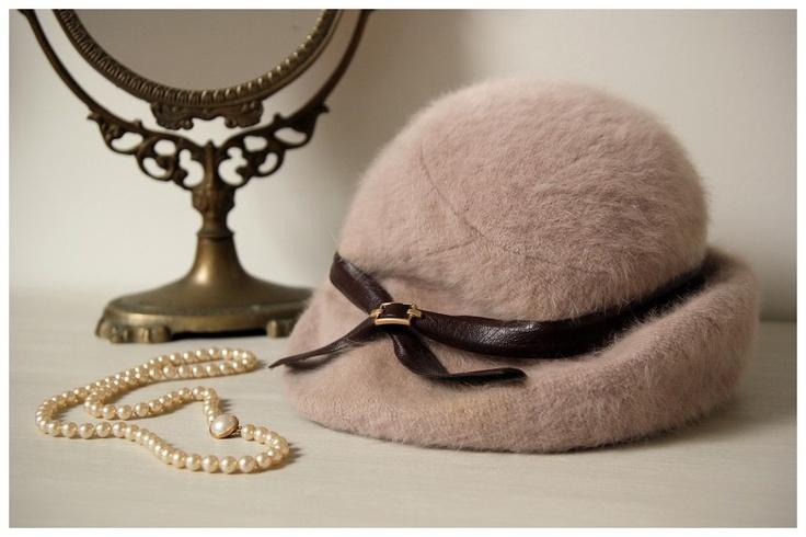 Vintage oud-roze hoed