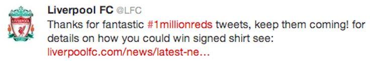 Liverpool FC festeggia l'incredibile record di 1 milione di followers su twitter con #1millionreds