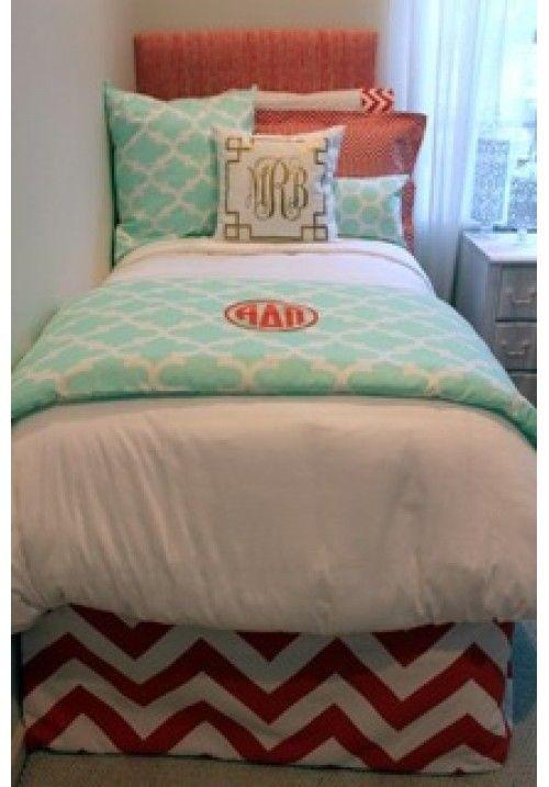 Coral & Mint Quatrefoil Designer Teen & Dorm Bed In A Bag