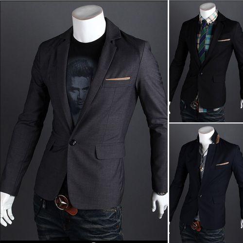 2013 Hotsale Men Blazer Slim Fit Casual One Button Design Blazer Mens Prom Suits 9012 Free Shipping $38.98