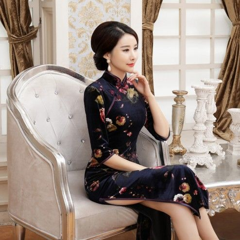 Navy Velour Half Sleeve Tea Length Cheongsam Evening Dress with Roses Pattern
