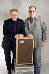 """Jack Casady, Dave Boonshoft, and the DB 285JC = Photo is from Dave Boonshoft's blog """"Behind the Bass Player"""" -- Article """"Jack Casady, John Patitucci, and the story of the DB 285JC"""" 03/10/2009."""