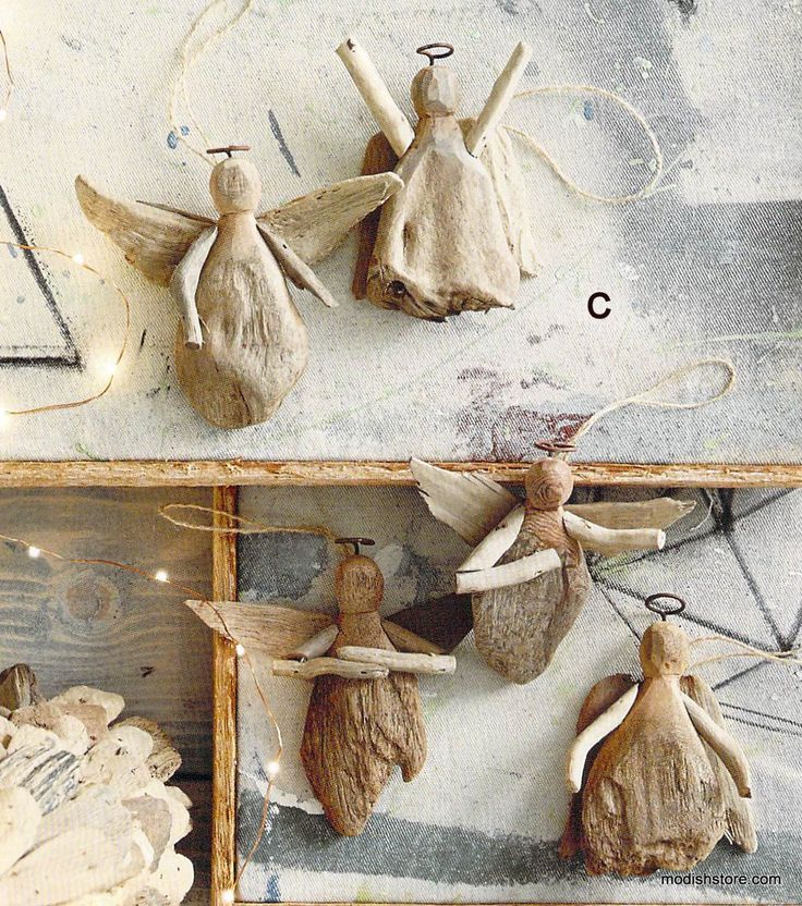 Roost driftwood angel ornament set 15 modish store for Hanging driftwood christmas tree