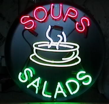 Soups and Salads neon sign from our trademark round series, will attract the hungry lunchtime crowd to your deli.