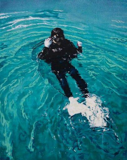 이상민의 작업들은 대부분 지나간 시간의 한 장면을 모티브로 하며 그 기억 속에 있는 아련한 시공간적 분위기를 상상하여 표현해나간다. 사진 속 장면은 꿈과 같이 찬라의 한순간이며 몽롱하고 희미한 기억으로 남아있다.   diver, 90.9x72.7cm, oil on canvas, 이상민