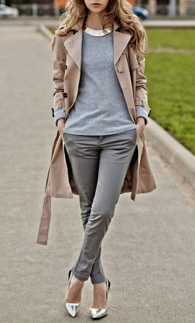 My gray skinnies with my silver Vince flats, neutral sweater (gray or ivory) and a camel trench coat. Statement necklace?