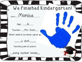 Kindergarten & Preschool Graduation Handprint Certificate ...
