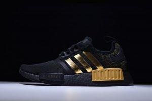 Suitable Adidas NMD R1 Men'S Black Gold BA7250 Shoes Sale