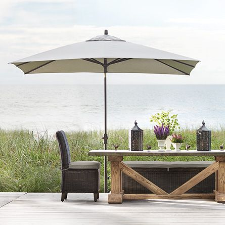 ARHAUS OUTDOOR PINTEREST CONTEST Outdoor 8' x 10' Rectangle Umbrella in Beacon Ash with Bronze Base