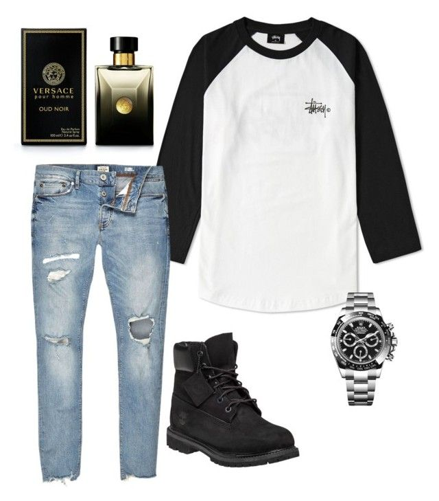 """Untitled #31"" by lovableln on Polyvore featuring Stussy, Timberland, Rolex, River Island, Versace, men's fashion and menswear"