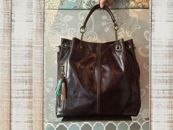 Dark brown leather bag leather purse chocholate brown by Percibal