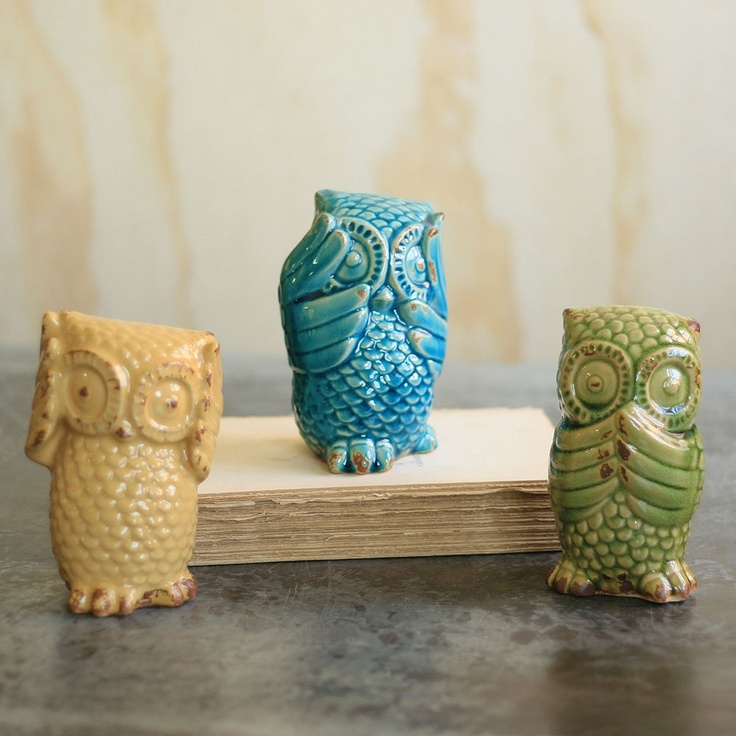 Colorful Hear No, See No, Speak No Evil Owls, Set of 3 made by Charming Accessories For Any Space.