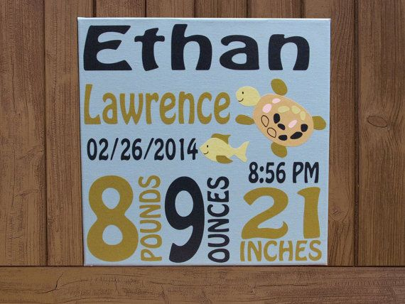 Custom Baby Birth Announcement On Canvas With Turtle Reef Theme 50